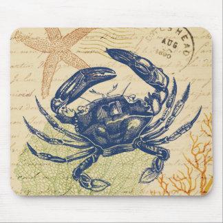 Tapis De Souris Collage de crabe bleu de bord de la mer
