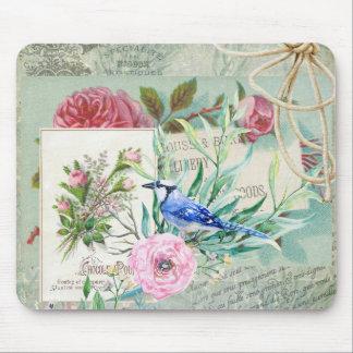 Tapis De Souris Collage floral de geai bleu d'oiseau de rose