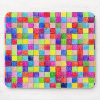 Tapis De Souris Coloré dans des carrés de papier de graphique