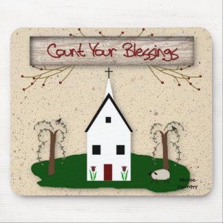 Tapis De Souris Comptez votre église Mousepad de bénédictions