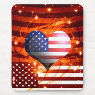 Tapis De Souris conception américaine de coeur de fierté
