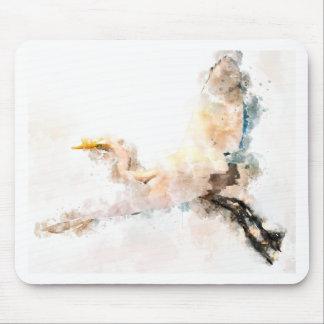 Tapis De Souris Conception d'aquarelle, vol d'oiseau de grue