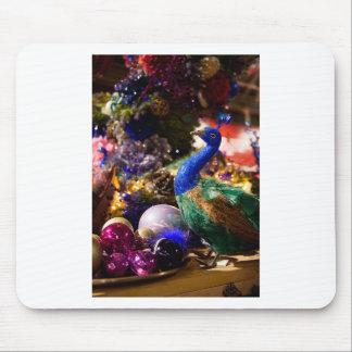 Tapis De Souris Conception de Noël de paon