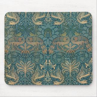 Tapis De Souris Conception de paon de William Morris et de textile