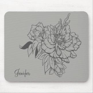 Tapis De Souris Conception florale grise élégante
