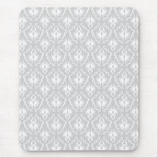 Tapis De Souris Conception grise blanche et en pastel de damassé