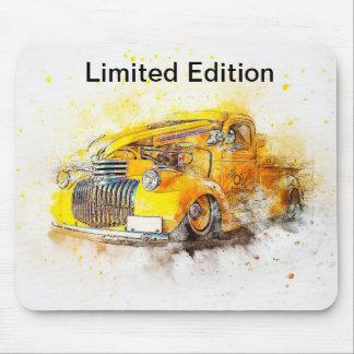 Tapis De Souris Conception jaune vintage Mousepad de voiture