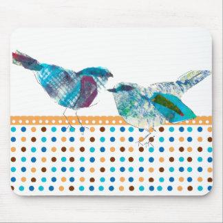 Tapis De Souris Conception moderne de rétro de polka oiseau bleu