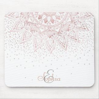 Tapis De Souris Conception rose élégante de confettis de mandala