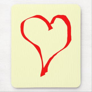 Tapis De Souris Conception rouge et crème de coeur d'amour