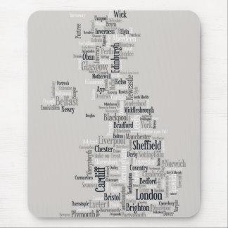 Tapis De Souris Configuration de texte BRITANNIQUE de ville de la