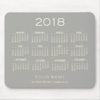 Tapis De Souris Contact nommé gris blanc Numer du calendrier 2018