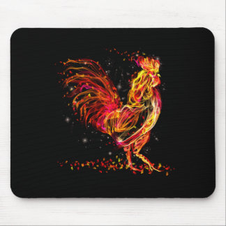 Tapis De Souris Coq du feu. Conception animale flamboyante de cool