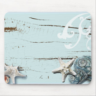 Tapis De Souris Coquillages bleus d'étoiles de mer d'aqua en bois
