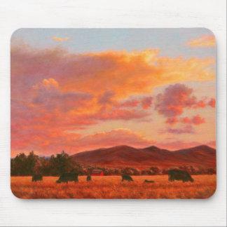 Tapis De Souris Coucher du soleil rose et orange avec les bétail
