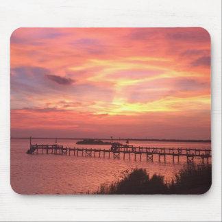 Tapis De Souris Coucher du soleil rose Mousepad d'île de Tiki