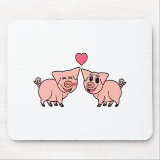 Tapis De Souris Couples roses mignons de porc