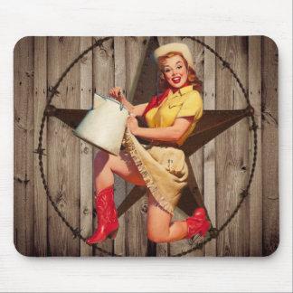 Tapis De Souris cow-girl rustique de pays occidental d'étoile de