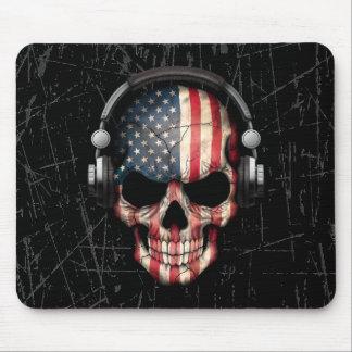Tapis De Souris Crâne américain rayé du DJ avec des écouteurs