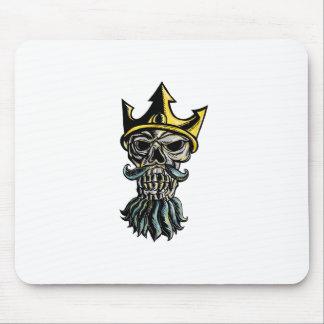 Tapis De Souris Crâne de gravure sur bois en tête de couronne de