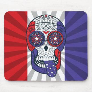Tapis De Souris Crâne patriotique de sucre de couleurs des