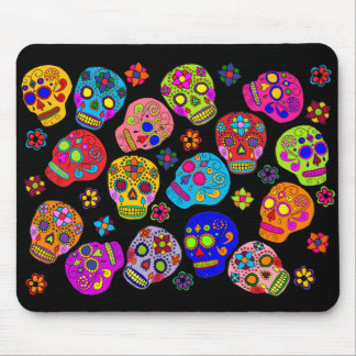 Tapis De Souris Crânes mexicains de sucre d'art populaire