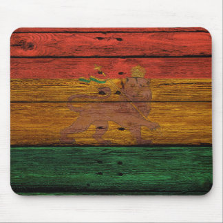 Tapis De Souris crête de lion de reggae sur la texture en bois