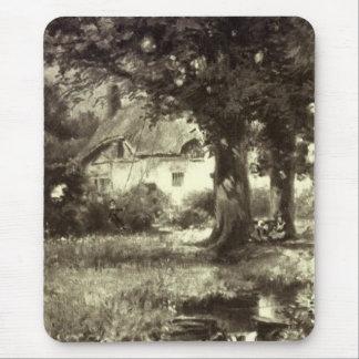 Tapis De Souris Cru - beau paysage - cottage et courant