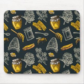 Tapis De Souris Cru foncé de jaune de ruche d'abeille de miel