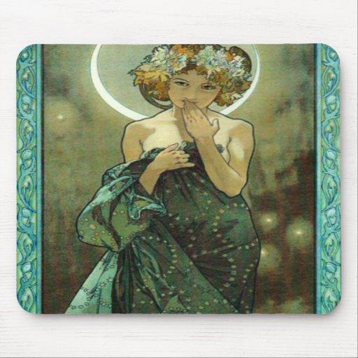Tapis de souris d'Alphonse Mucha Clair De Lune
