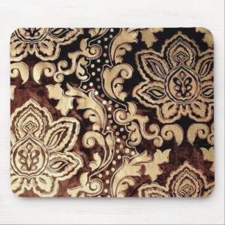 Tapis De Souris damassé brun chocolat affligée d'or de victorian