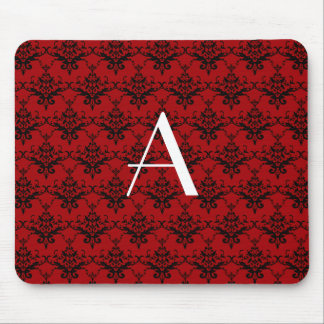 Tapis De Souris Damassé de rouge de monogramme