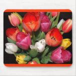 Tapis de souris de feux d'artifice de tulipe