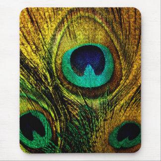 Tapis de souris de motif de plume de paon d'or