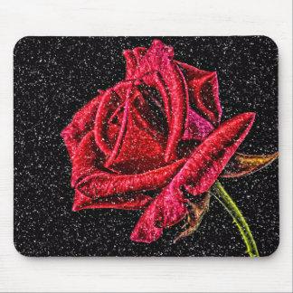 tapis de souris de rose rouge