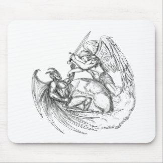 Tapis De Souris Démon de combat d'ange au-dessus de tatouage du