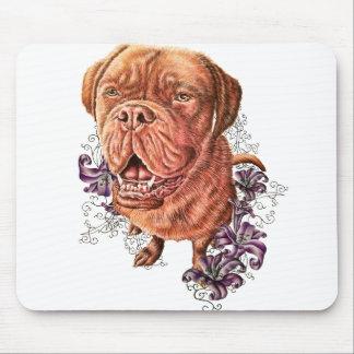 Tapis De Souris Dessin d'art et de lis de chien de mastiff de