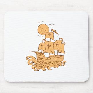 Tapis De Souris Dessin de lune de bateau de navigation de