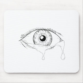 Tapis De Souris Dessin débordant pleurant de larmes d'oeil humain