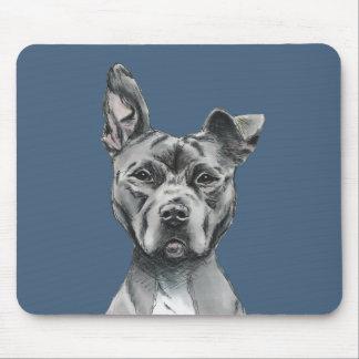 Tapis De Souris Dessin Stalky gris de chien de pitbull
