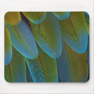 Tapis De Souris Détail de motif de plume de perroquet d'ara