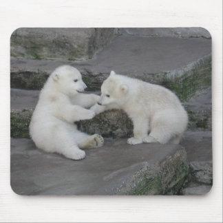 Tapis De Souris Deux petits animaux d'ours blanc