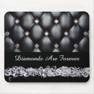 Tapis De Souris Diamants blancs simili cuir noirs