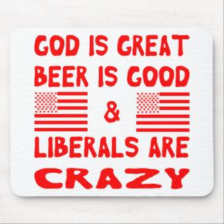Tapis De Souris Dieu, bière et libéraux fous
