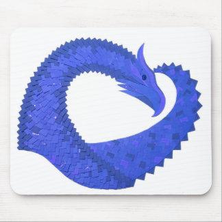 Tapis De Souris Dragon bleu de coeur sur le blanc