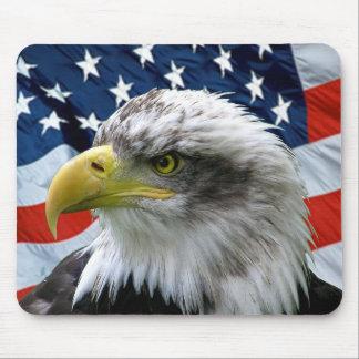 Tapis De Souris Drapeau américain chauve Mousepad d'Eagle