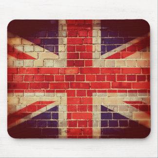 Tapis De Souris Drapeau BRITANNIQUE vintage sur un mur de briques