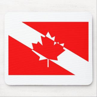 Tapis De Souris Drapeau canadien de plongeur autonome