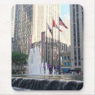 Tapis De Souris Drapeaux centraux de fontaine de Rockefeller New