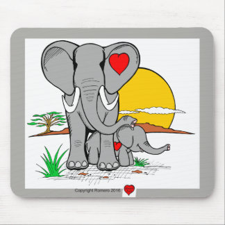 Tapis De Souris Éléphants d'art de coeur